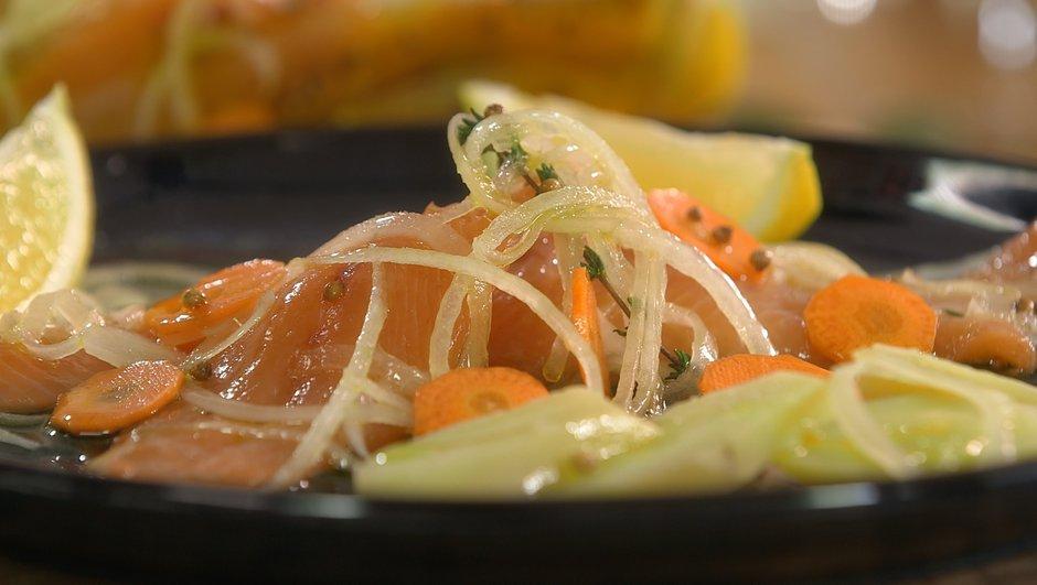 Filets de truites marinées à l'huile d'olive, pommes tièdes