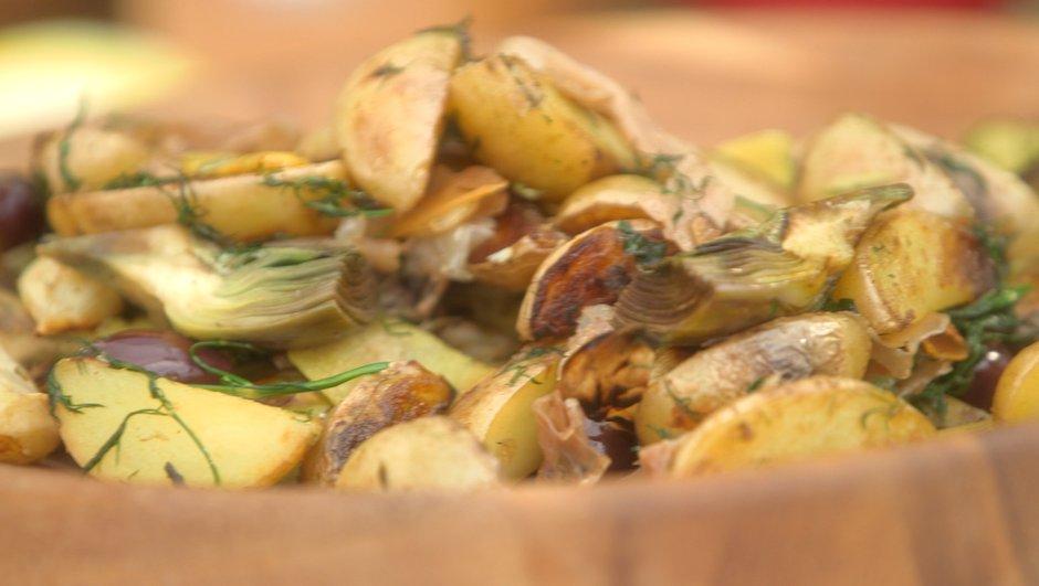Artichauts et pommes de terre au  wok