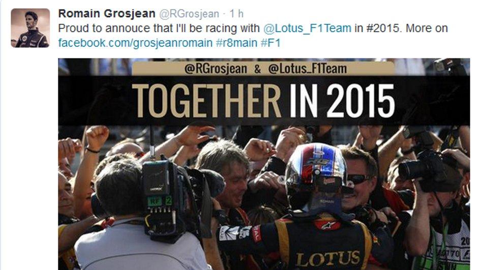 F1 : Romain Grosjean et Lotus toujours ensemble en 2015 ?