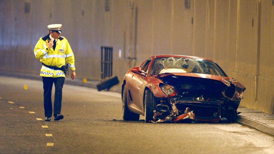 Une Ferrari 599 GTB crashée par Cristiano Ronaldo