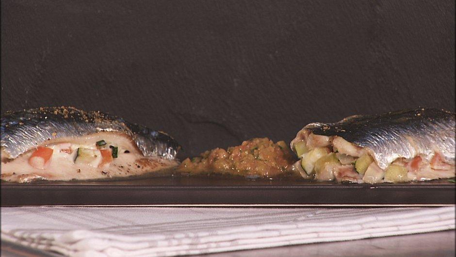 Sardine farcie aux légumes et coriandre