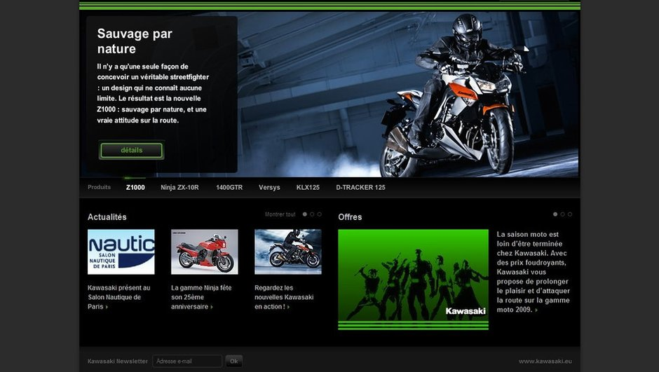 Nouvelle version pour le site Kawasaki