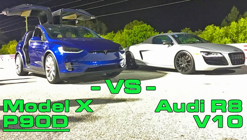 Insolite : la Tesla Model X affronte une Audi R8 V10 Spyder