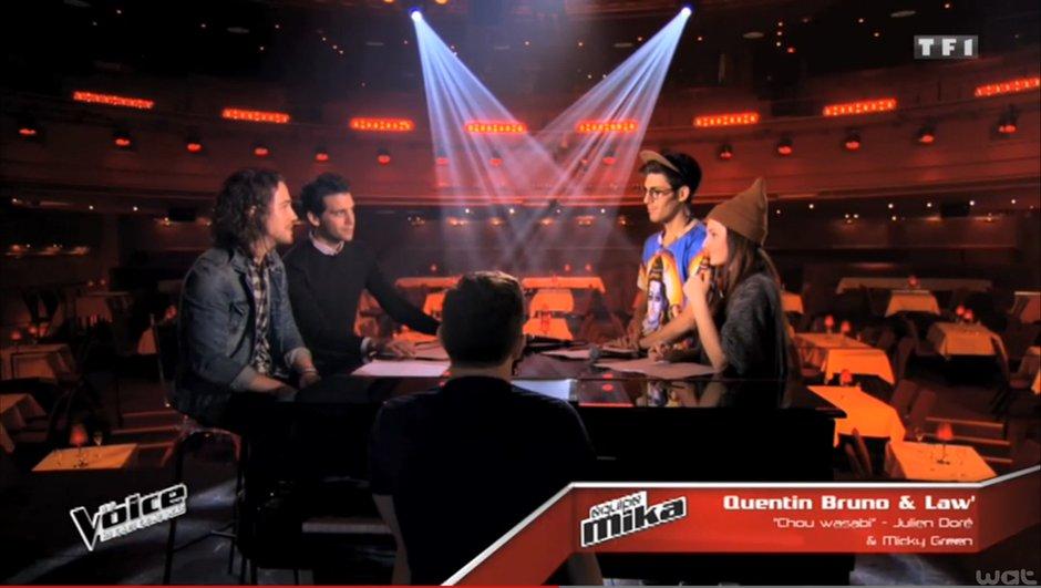 The Voice 4 - EXCLUSIVITE : Quand Julien Doré conseille Law' et Quentin Bruno sur un de ses titres