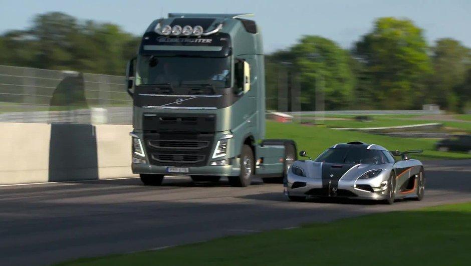Insolite : un camion Volvo FH défie la Koenigsegg One:1 de 1.360 chevaux