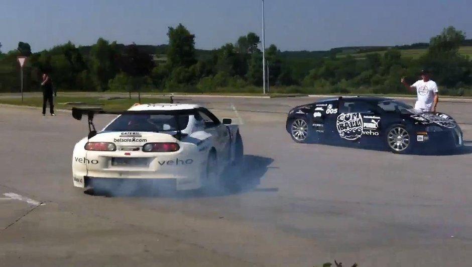 Vidéo : Il drifte autour d'une Bugatti Veyron